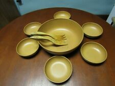 Vintage Large Fllingers Agatized Wood Inc Salad Bowl Set- 7 Bowls # 120 & # 60