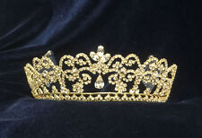 """Crystal Clear Rhinestones Gold Plated Tiara w/Combs.Available Silver.2"""" Tall."""