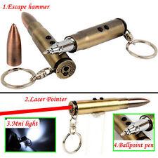 Camping Bullet Shaped Pen Keychain Survival EDC Laser+Light+Hammer+Ballpoint CA