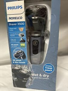 New! Philips Norelco Shaver 3500 Wet & Dry Electric Shaver + Travel Pouch
