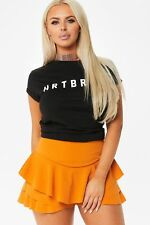 Women Plain Flared Ruffled Frill Skorts High Waisted Lady Mini Skirt Dress Short Black 12