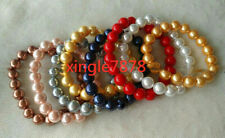8 Colors Pretty 8/10/12mm South Sea Shell Pearl Round Gemstone Bracelet 7.5''