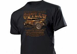 Shirt The Outlaw Hotrod Garage Genuine Rockabilly Kustom Car V8 Flathead Hot Rod