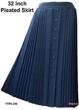 """Ladies Pleated Skirt 32"""" Long Blue Vintage Style"""