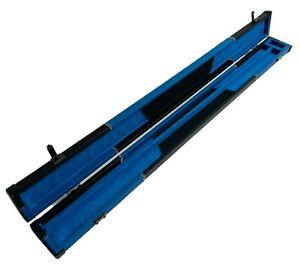 "BLUE & BLACK High Quality LEATHERETTE Case for 57"" 2 Piece CENTER SPLIT Pool Cue"