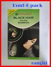 6pcs Ravan Black Hair Color Shampoo Dye Instant 5-Min Herbal Colour Natural