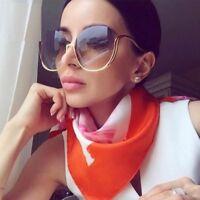 NEW Vintage Sunglasses Oversized Round Unique Half Rim Women Fashion Shades 2018