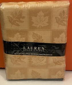 """NIP Ralph Lauren Stoddard Damask Tablecloth 60""""X 144"""" Oblong(Yellow/Gold) Autumn"""