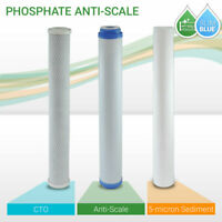 """Max Water WH Water Filter Set 20"""" x 2.5""""  Sediment, Anti Scale  CTO Set"""