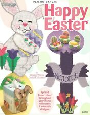 Happy Easter Plastic Canvas Holiday Patterns Needlecraft Bunny Cross Tissue Box