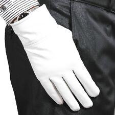 100% Genuine Leather(NO PU) White/ Black Warm winter Gloves Wedding Party Gloves
