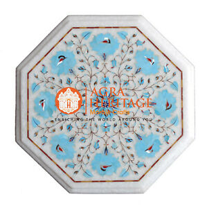 """13"""" Marble Coffee Table Top Turquoise Marquetry Inlay Outdoor Decorative H020"""