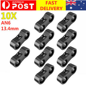 10Pcs AN6 AN-6 13.4MM Fitting Adapter Bracket Braided Hose Separator Clamp black