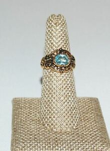 Vintage Gold Tone Filigree Oval Blue Glass Ring Signed BY Size 6