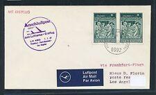 62353) LH FF Frankfurt - Los Angeles USA 1.1.69, Brief ab Österreich Enklave