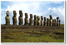 Easter Island Chile - Rapa Nui - Polynesian Moai - Travel Photo - NEW POSTER