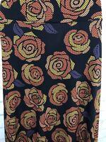 Lularoe LLR Maxi Skirt Black With Polka Dot Orange Roses Size XS