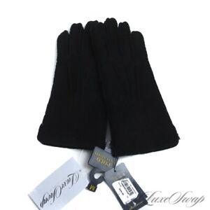 NWT $225 Polo Ralph Lauren Black Sheepskin Suede Shearling Fur Lined Gloves NR M