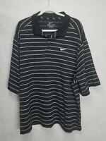 Nike Golf Mens Dri Fit Polo Shirt SZ 2XL Black White Short Sleeve Swoosh