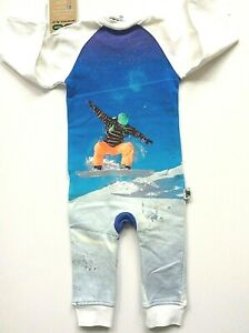Inchworm Alley Baby One piece 100% organic cotton knit with Snow Boarder