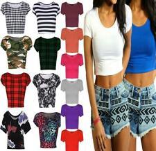 Ladies Cap Sleeve Plain Printed Crop Top Womens Round Neck Stretch Vest Tshirt