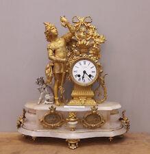 Orologio in bronzo dorato al mercurio, basamento in marmo, fine '800 - H 45 cm!