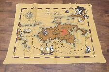 Island Of St. John Bay Pirate Map Souvenir Cloth Wall Hanging Only **READ**