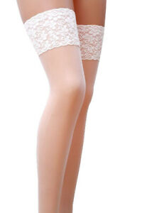 New Lace Top Hold Ups 17 Denier Sheer 15 Various Colours Size S - XXL Stockings