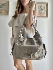 $1200 Authentic BURBERRY Nova Check Plaid BAG Gray LEATHER BELT HOBO purse