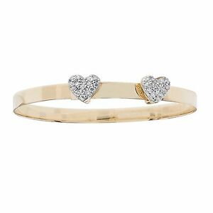 9ct Yellow Gold Baby Children Twin Heart Bangle FREE ENGRAVING