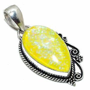 """Triplet Fire Opal Gemstone Handmade Silver Jewelry Pendant 2.0"""" PSL246"""