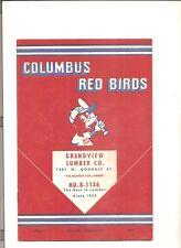 1954 Columbus Red Birds vs. Charleston baseball program