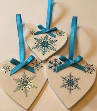 3 X Handmade Shabby Chic Christmas Decorations Frozen Snowflakes Turquoise