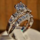 Engagement Wedding Bridal Set Half Eternity Ring 14K White Gold 1.07 Ct Diamond