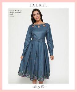 UK 14 Midi Dress LINDY BOP Woodland Magpie BNWT Vintage Inspired Pleats