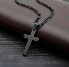 Herren Edelstahl Einfaches Kreuz Kubanische Halskette in Schwarz UK Verkäufer