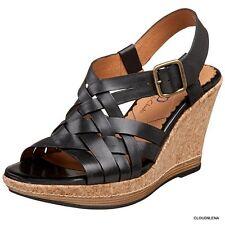 INDIGO by Clarks Plover Black Leather Cork Platform Wedge Sandals Shoes