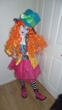 ❤BARGAIN OFFER - GIRLS FULL BRIGHT MAD HATTER FANCY DRESS + BOOTS ETC SIZE 9-10