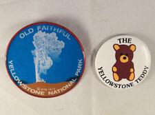 Vintage Lenticular Yellowstone National Park Old Faithful Button 1975 🐻 Pinback