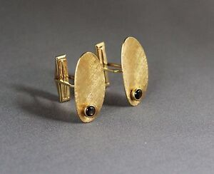 14K Solid Gold Cuff Links with Two Genuine Black Star Sapphires No. 107