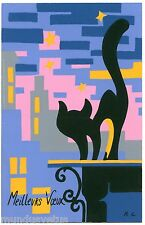 Joli chat noir . art abstrait . R.C. Black cat