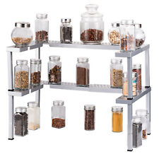 New listing 2 Pcs Spice Rack Expandable Stackable Cabinet & Pantry Organizer -Silver