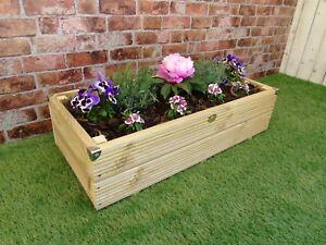 Long Large Decking Wooden Garden Planter Hand Made 60 80 100 120 145 cm