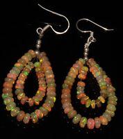 "2-4 mm Beads 2"" 925 sterling silver & Genuine  Ethiopian opal Earrings"