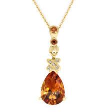 Pear Shaped Orange Citrine & Diamond Solitaire Pendant Silver Yellow Gold over