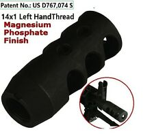14x1 Left Hand Thread Short Competition Muzzle Brake for 7.62x39