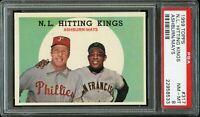 1959 Topps BB Card #317 Hitting Kings Richie Ashburn, Willie Mays PSA NM-MT 8 !!