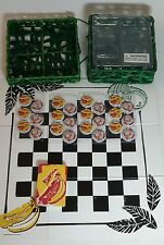 STARBUCKS PATIO GAME BANANA BOTTLE CAP CHECKERS & CARDS w/ FOLD OUT BOARD & CASE