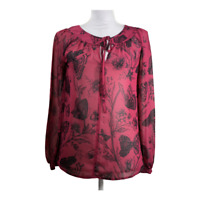 Ann Taylor Loft Womens Top Crew Neck Tie Long Sleeves Butterfly Blouse Size XS