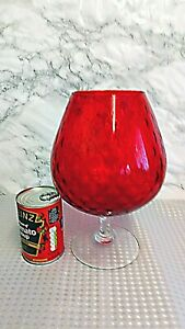 Vintage Red Italian Empoli Balloon Glass Vase Patterned Clear Stem 28cm Tall